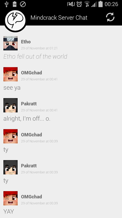 Mindcrack Server Chat- screenshot