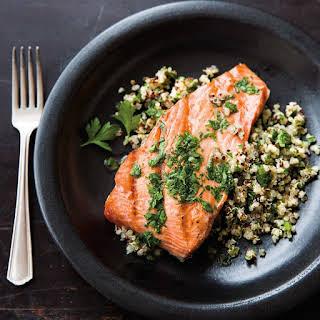Salmon with Quinoa and Parsley Vinaigrette.