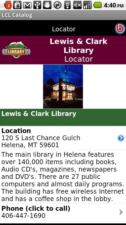 Lewis & Clark Library Catalog- screenshot