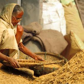 work and wok by Suman Mukherjee - People Portraits of Women ( work, old lady, indian, women, portrait )