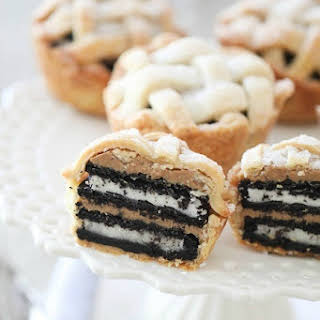 Oreo and Peanut Butter Layered Baby Lattice Pies.