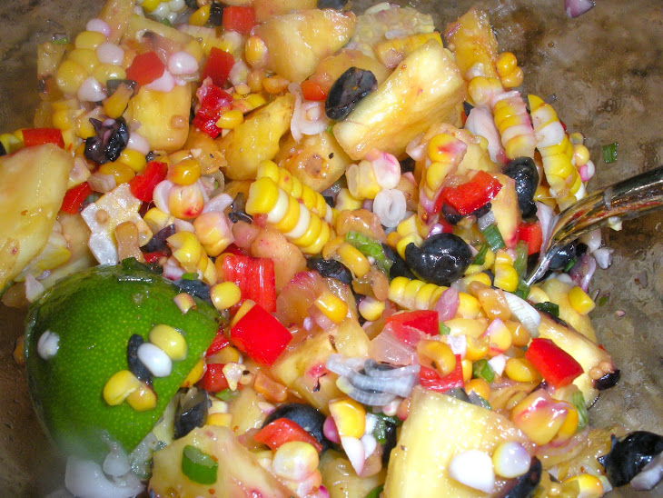 Fresh Corn, Blueberry, and Pineapple Salad with Spring Onions and Shallots Recipe