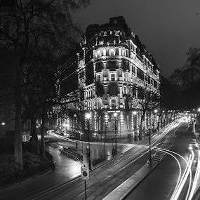 Trailin' by Neil Jayaratne - City,  Street & Park  Street Scenes ( uk, street, white, contrast, blackandwhite, life, traffic, london, cars, trails, embankment, painting, light, black,  )