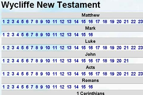 Bible Wycliffe New testament - screenshot