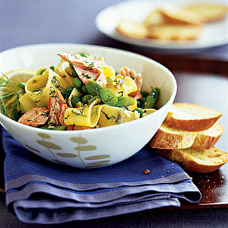Pappardelle With Asparagus and Salmon.