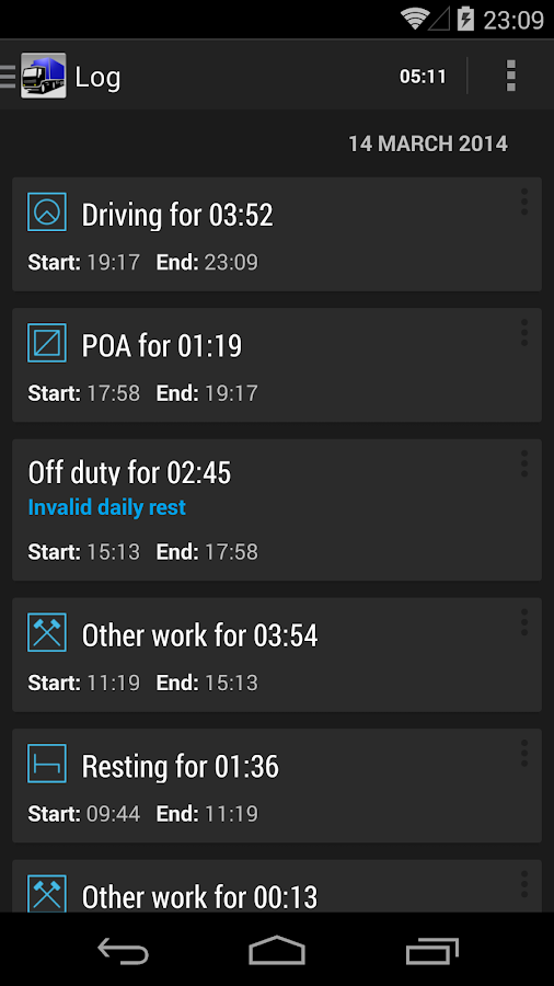 TruckerTimer- screenshot