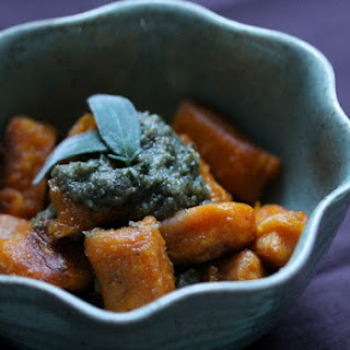 Sweet Potato Gnocchi With A Sage & Walnut Pesto