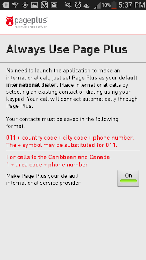 Page Plus Global Dialer- screenshot