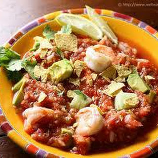 Gazpacho with Shrimp Ceviche and Avocado.