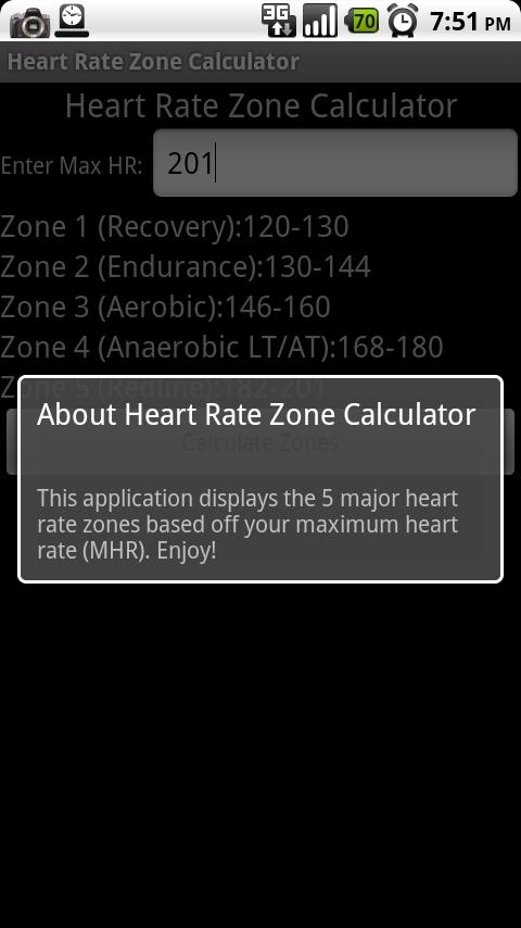 Heart Rate Zone Calculator - screenshot