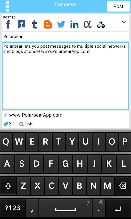 Polarbear: Twitter, Facebook - screenshot