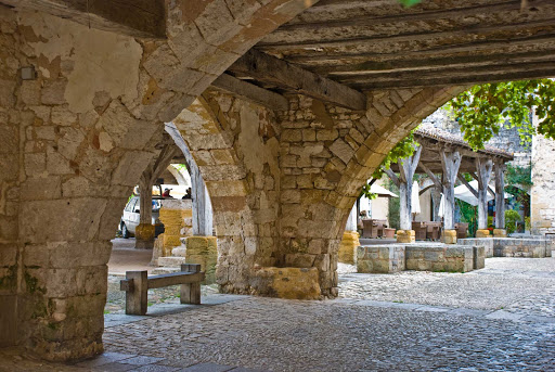marketplace-Monpazier-Bordeaux-France - The marketplace of Monpazier, France.