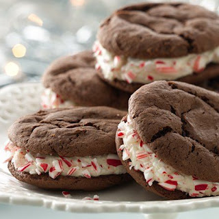Peppermint-Chocolate Cake Mix Sandwich Cookies.