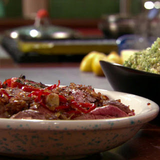 Spinach-Feta Rice Pilaf, Steak with Oregano Sauce and Broiled Tomatoes with Parlsey