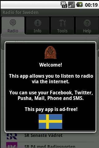 Radio for Sweden pay app