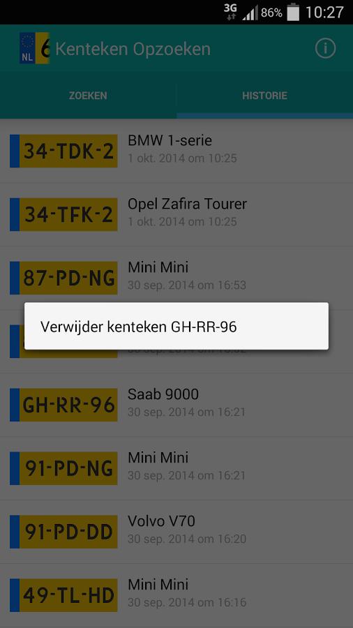 Kenteken Opzoeken - Finnik- screenshot