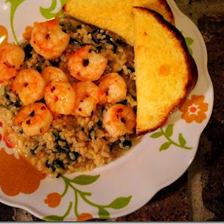 Spinach Risotto with Firecracker Shrimp
