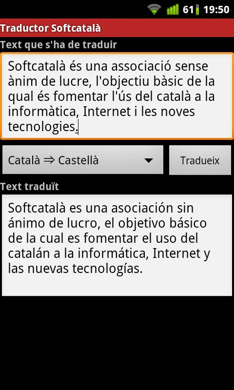 Traductor Softcatalà - screenshot