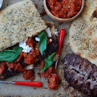 Grilled Sausage and Ricotta Pizza Sandwich.