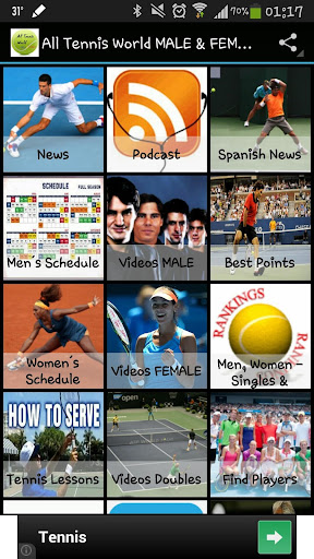 All Tennis World MALE FEMALE