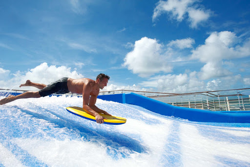 Royal-Caribbean-FlowRider-2 - Dive into some fun action on the FlowRider aboard Allure of the Seas.