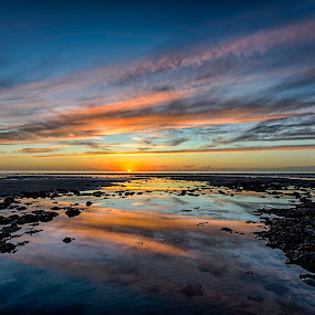 Reflections by Graham Kidd - Landscapes Sunsets & Sunrises ( clouds, water, red, blue, sunset, reflections )