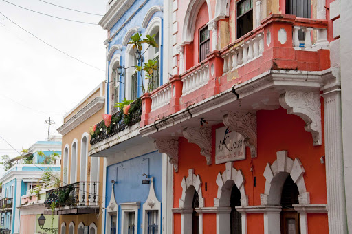 Balconies on Calle San Sebastian in Old San Juan, Puerto Rico, a UNESCO World Heritage Site.