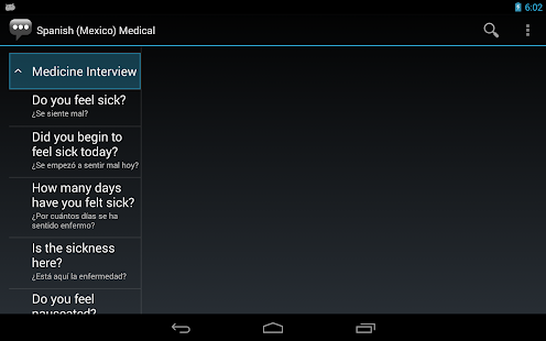 Spanish (Mexico) Medical Phrases - Works offline- screenshot thumbnail