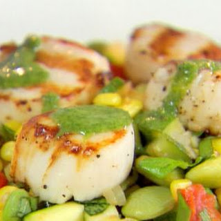 Succotash with Grilled Scallops and Parsley Drizzle Recipe