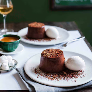 Chocolate Marquise With Lime And Coconut Sorbet.