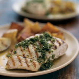 Grilled Halibut with Salsa Verde.