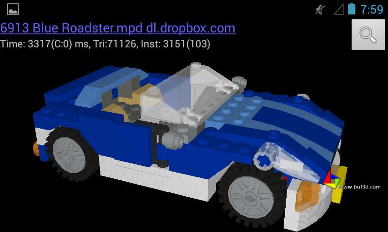 Buf3D lego and 3d model viewer - screenshot