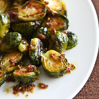 Roasted Brussels Sprouts with Cranberry Pistachio Pesto