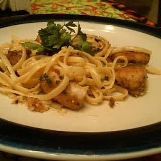 Chicken Scampi With Linguine.