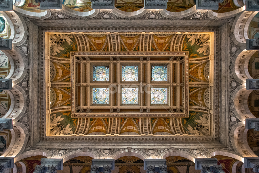 Library of Congress by Robert Fawcett - Buildings & Architecture Architectural Detail ( dc, detail, ceiling, washington dc, places, architecture, library of congress, Architecture, Ceilings, Ceiling, Buildings, Building )