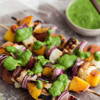 Grilled Peach and Halloumi Skewers with Basil-Jalapeno Sauce