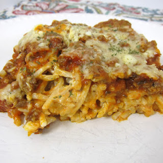 Baked Cream Cheese Spaghetti Casserole.