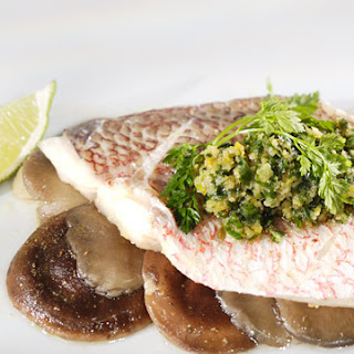 Red Snapper with Ginger-Scallion Relish.
