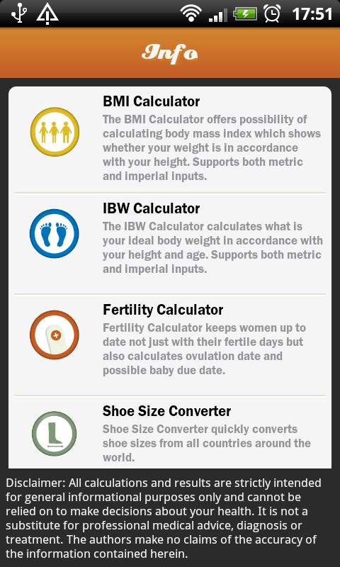 BMI - Women's Assistant - screenshot