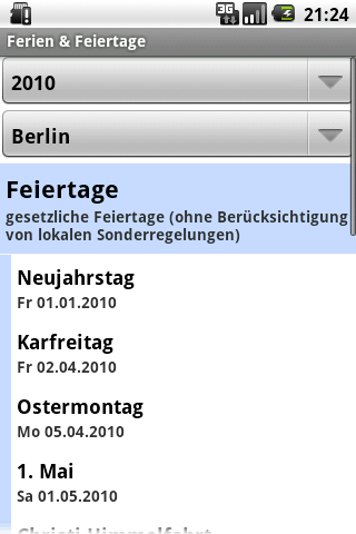 Ferien & Feiertage - screenshot