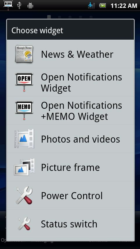 Open Notifications+MEMO - screenshot
