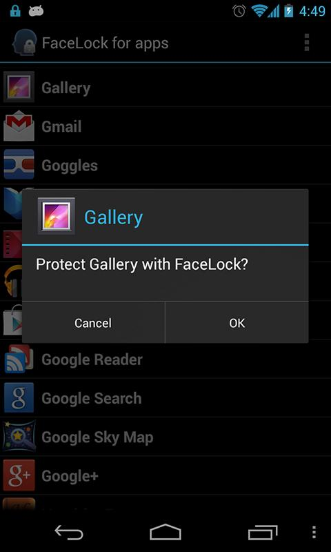 FaceLock for apps - screenshot