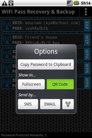 WiFi Pass Recovery & Backup - screenshot