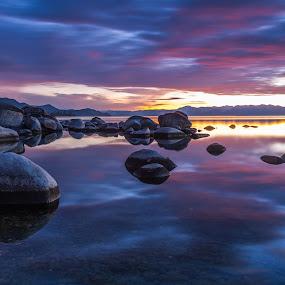 Whispers at Dusk by Mike Lindberg - Landscapes Waterscapes ( alpine lake, reflection, sierra nevada, lakeshore, mountain lake, sunset, eastern sierra, tahoe, shoreline, long exposure, sierra, beach, lake tahoe )