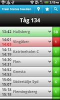 Screenshot of Train Status Sweden