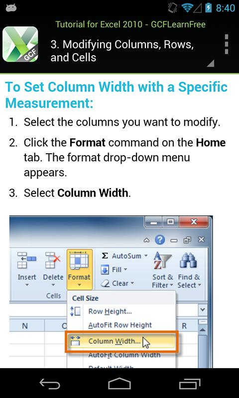 GCF Excel 2010 Tutorial - screenshot