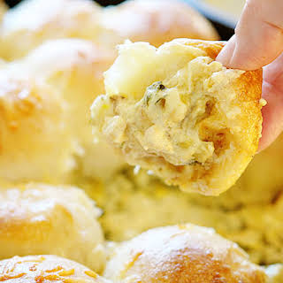 Cheesy Skillet Spinach & Artichoke Dip with Baked Bread.
