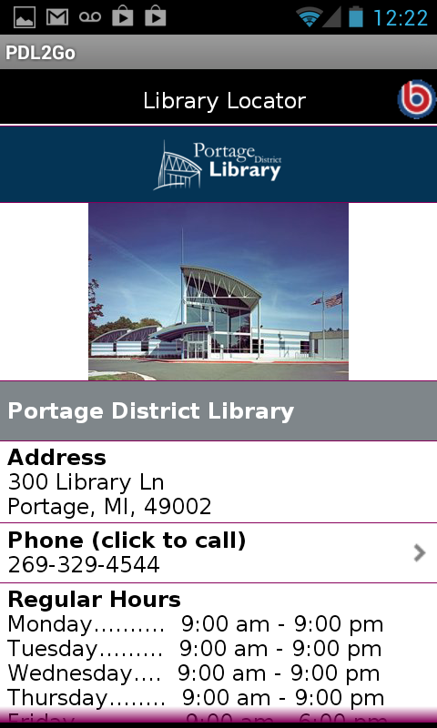Portage District Library- screenshot
