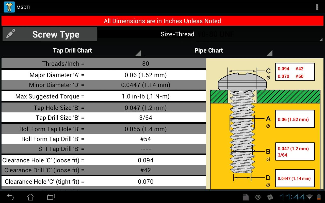 Machine Screws Drill/Tap Info- screenshot
