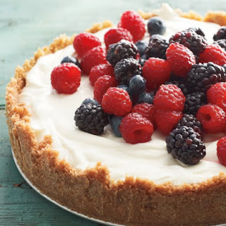 No-Cook Red, White, and Blue Cheesecake